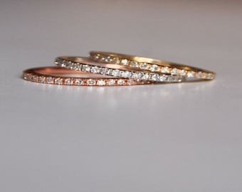 Skinny and stackable full eternity diamond wedding band 14k WHITE or ROSE or YELLOW gold band. Matching band by Eidelprecious