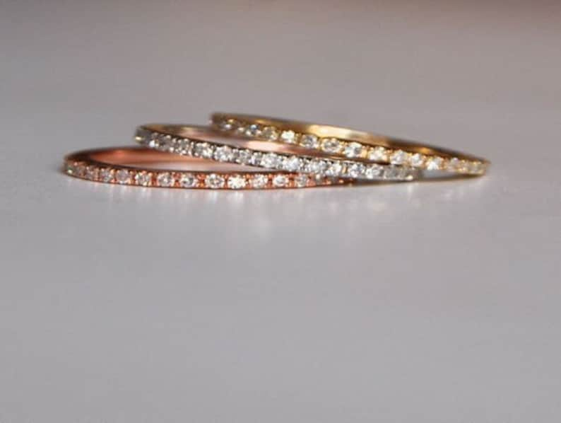 Skinny and stackable full eternity diamond wedding band 14k image 0