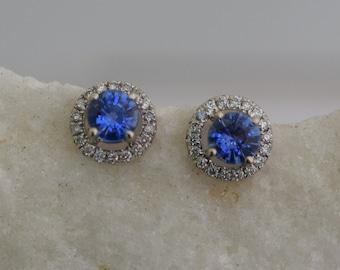 Blue sapphire studs. Stud earrings. White gold earrings. Blue sapphire diamond earrings. Halo studs. 14k white gold earrings Eidelprecious.