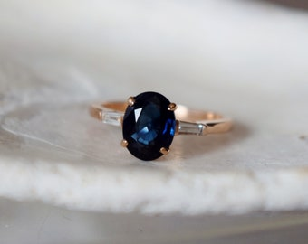 Baguette Engagement Ring Rose gold engagement ring 1.9ct Jet blue Sapphire ring 14k RG diamond ring by Eidelprecious Classic engagement ring