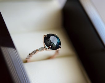 Round Peacock sapphire engagement ring. Rose Gold Engagement Ring. Blue green Sapphire engagement ring by Eidelprecious