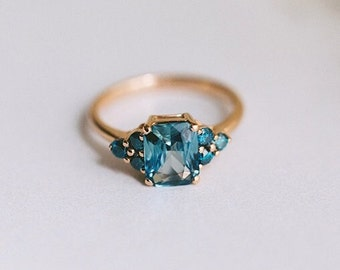 Totally Teal sapphire engagement ring. Turquoise green sapphire 2ct radiant sapphire diamond ring 14k Rose gold ring by  Eidelprecious.