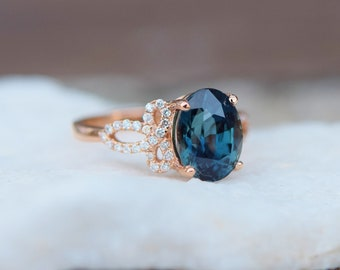 Teal sapphire engagement ring. Peacock green blue sapphire 3.9ct oval diamond ring 14k Rose gold. Engagement ring by  Eidelprecious.
