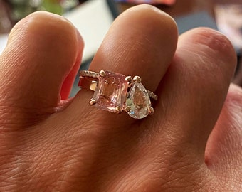 Toi et moi inspired ring. Peach and white sapphire ring. Rose gold engagement ring by Eidelprecious.