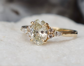 1.24ct VS1 Champagne diamond engagement ring. Oval Diamond ring Champagne diamond Yellow gold ring. Campari engagement ring by Eidelprecious