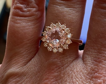 Peach Champagne Sapphire diamond ring 14k rose gold ring engagement ring, 2.3ct round sapphire ring by Eidelprecious