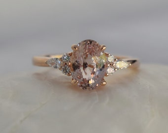 1.5ct Oval engagement ring. Champagne peach sapphire diamond ring 14k rose gold Campari engagement ring by Eidelprecious