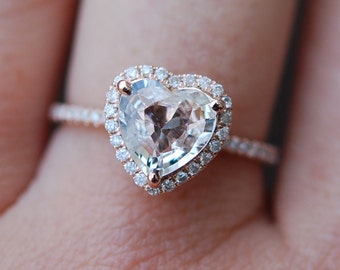 Rose gold engagement ring. Ice peach sapphire engagement ring. 1.35ct Heart shape sapphire 14k RG diamond ring.