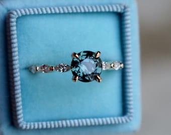 Teal Lake sapphire engagement ring. Godivah engagement ring. Yellow Gold Engagement Ring, Teal Green sapphire engagement ring Eidelprecious