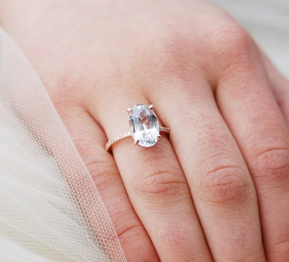 Blake Lively Wedding Ring.Blake Lively Engagement Ring In Platinum White Sapphire Engagement Ring Oval Engagement Ring 18k Rose Gold Engagement Ring 5 5ct Sapphire