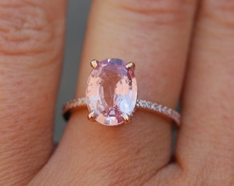 Blake Lively ring Peach Pink Sapphire Engagement Ring oval cut 14k rose gold diamond ring 3.17ct Peach champagne sapphire ring