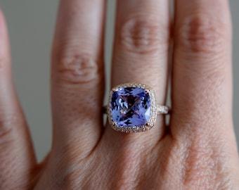 Tanzanite Ring. Rose Gold Engagement Ring Lavender Blue Tanzanite cushion cut engagement ring 14k Rose Gold ring Eidelprecious.
