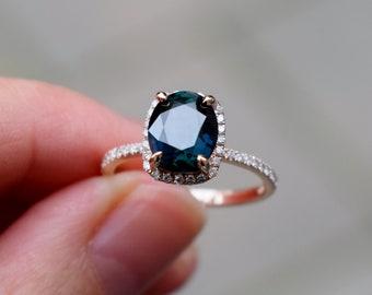 Deep Blue Green sapphire engagement ring. Peacock sapphire 2ct cushion halo diamond  ring 14k Rose gold.