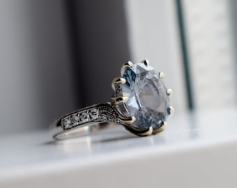 One of a kind Engagement Ring. Light Grey Blue Sapphire Ring. 14k White Gold 6ct sapphire engagement ring by Eidelpresious