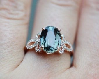 Color change sapphire engagement ring. Teal green sapphire 3.6ct oval diamond ring 14k Rose gold. Engagement ring by Eidelprecious.