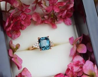 Teal lagoon sapphire engagement ring. 4.5ct radiant cut blue green sapphire ring diamond ring  Martini by Eidelprecious.