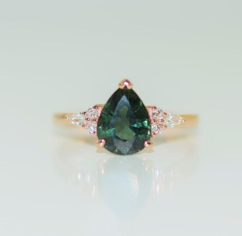 9237c9b4d Green sapphire ring. Rose Gold Engagement Ring Green Tea | Etsy