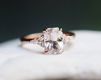 Engagement Ring Rose gold engagement ring. 3.07ct Champagne Sapphire ring Campari ring emerald radiant cut diamond ring by Eidelprecious
