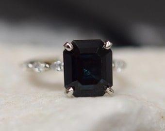 Black sapphire ring Emerald Engagement Ring 4.1ct Midnight Blue Sapphire Ring White gold diamond ring Godivah ring ring by Eidelprecious