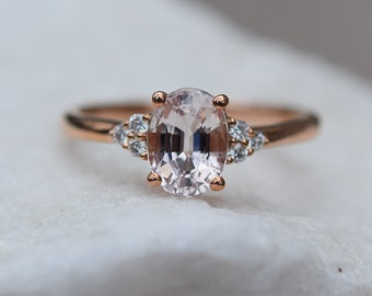 Sapphire engagement ring. Caramel sapphire. Oval diamond ring 14k Rose gold. Campari Engagement ring by  Eidelprecious