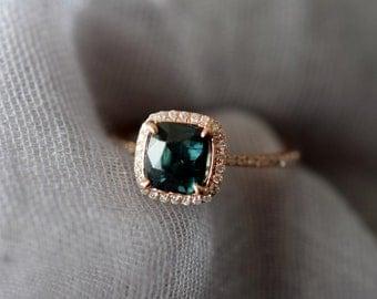 Teal sapphire engagement ring. 1.8ct square cushion cut blue green sapphire ring diamond ring 14k Rose gold ring by Eidelprecious