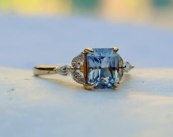 Blue sapphire engagement ring. Sky blue sapphire 3ct radiant cut ring 14k Yellow gold. Trillium Engagement ring by  Eidelprecious.