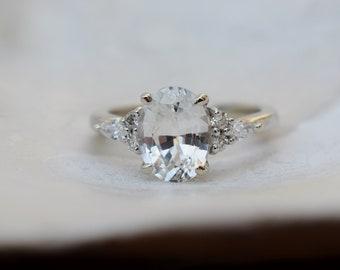 White sapphire engagement ring. 2.07ct oval diamond ring white gold ring. Campari design by Eidelprecious