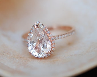 Engagement Ring White Sapphire Engagement Ring 14k Rose Gold 3ct, Pear Cut White Sapphire Ring. Engagement ring by Eidelprecious