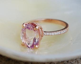 Blake Lively ring Raspberry Sapphire Engagement Ring oval cut 14k rose gold diamond ring 3.4ct Raspberry Peach  ring
