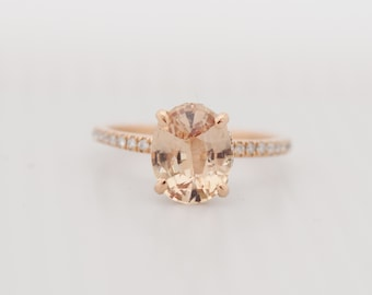 Blake Lively ring Ginger Peach Sapphire Engagement Ring oval cut 14k rose gold diamond ring 2.2ct Peach sapphire ring by Eidelprecious