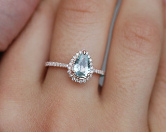 1.9ct Mint blue green pear sapphire diamond ring 14k rose gold engagement ring