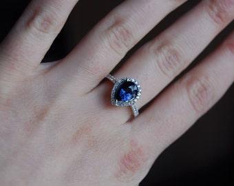 Midnight Sky Sapphire engagement ring. Deep blue pear sapphire diamond ring 14k white gold ring. Halo pear shape sapphire ring Eidelprecious