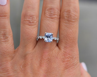 Ice Blue sapphire engagement ring. Blake Lively ring White Gold Engagement Ring. One of a kind ring. Sapphire Emerald ring by Eidelprecious