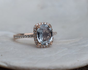 Rose gold engagement ring sapphire ring diamond ring White Mint sapphire 14k rose gold. Engagement rings by Eidelprecious