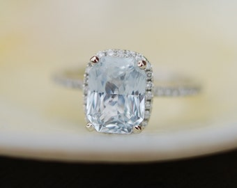 3.02ct Light sky blue color change oval sapphire cushion diamond ring 14k white gold ring engagement ring by Eidelprecious