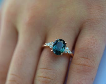 Teal sapphire engagement ring. Peacock green sapphire 3.48ct oval diamond ring 14k Rose gold. Campari Engagement ring by  Eidelprecious.