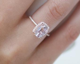 2ct cushion lavender peach champagne sapphire 14k rose gold diamond ring engagement ring