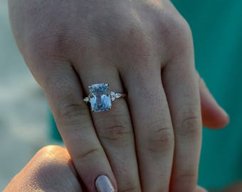 Rose Gold Engagement Ring. Light Lavender Blue Sapphire Ring. 14k rose gold diamond ring. Emerald cut Sapphire by Eidelprecious