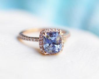 Cornflower blue sapphire ring. 2ct Square cushion diamond ring. 14k rose gold ring engagement ring by Eidelprecious.