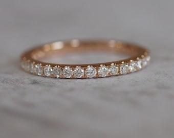 3/4 eternity band 2mm eternity diamond band 14k yellow gold band, rose gold band, white gold band. Matching wedding band.
