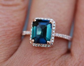 Peacock sapphire engagement ring. 2.6ct emerald cut blue green sapphire ring diamond ring 14k Rose gold ring by Eidelprecious.