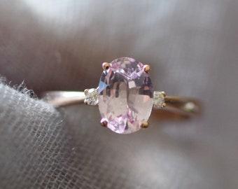 Blush sapphire engagement ring. Light peach pink sapphire 1.5ct oval diamond ring 14k Rose gold. Engagement ring by  Eidelprecious
