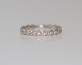 1mm Diamond Wedding band matches ANY engagement ring. Eternity band 14k gold Low Profile Band Matching Band Flower Flat band
