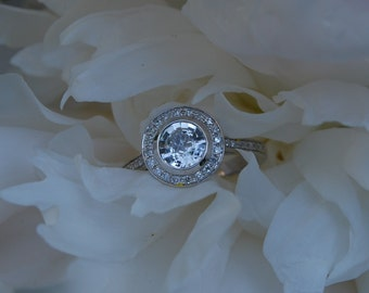 White sapphire ring Bezel diamond engagement ring. White gold ring. Round sapphire ring. Simple engagement ring by Eidelprecious