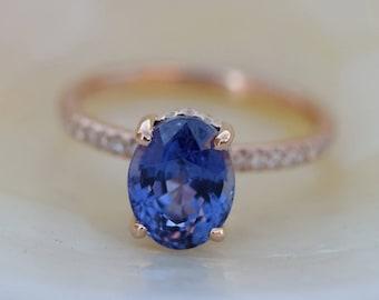 2.93ct Ultra Violet ring Blue Sapphire Ring. Plum sapphire ring. Oval Sapphire 2.93ct rose gold ring. Engagement ring by Eidelprecious