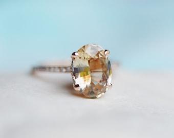 Hazel sapphire ring. Engagement Ring. 3ct Oval Sapphire ring. 14k rose gold diamond ring Golden Honey sapphire ring by Eidelprecious
