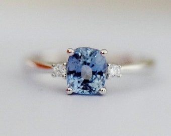 Sky Blue Sapphire ring 14k White Gold Engagement Ring Cushion engagement ring 2.5ct Sky blue sapphire engagement ring by Eidelprecious