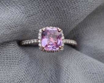 Blush Sapphire ring. Square cushion pink sapphire ring. 14k rose gold diamond ring. Engagement Rings by Eidelprecious
