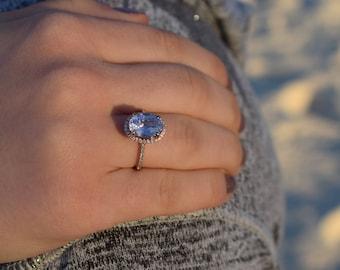 Oval Violet Blue Sapphire Engagement Ring. Rose Gold Engagement Ring 4.15ct blue sapphire ring. Rose gold engagement ring by Eidelprecious.