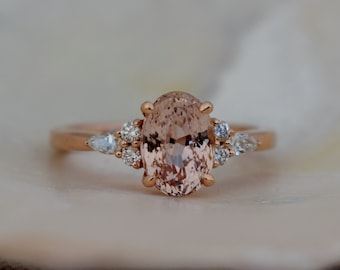 1.35ct Oval engagement ring. Champagne peach sapphire diamond ring 14k rose gold Campari engagement ring by Eidelprecious